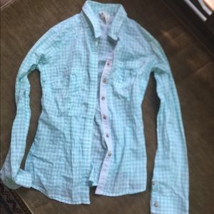 Cute mint colored checked 100% cotton blouse